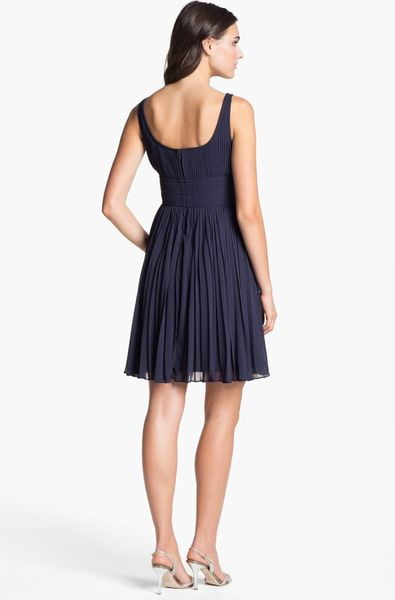 Adrianna Papell Pleated Chiffon Fit Flare Dress In Blue