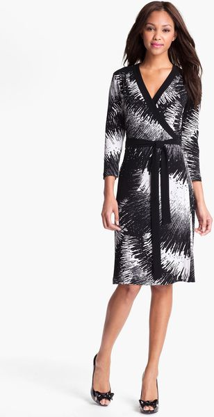 Alex & Ava Print Jersey Wrap Dress - Lyst