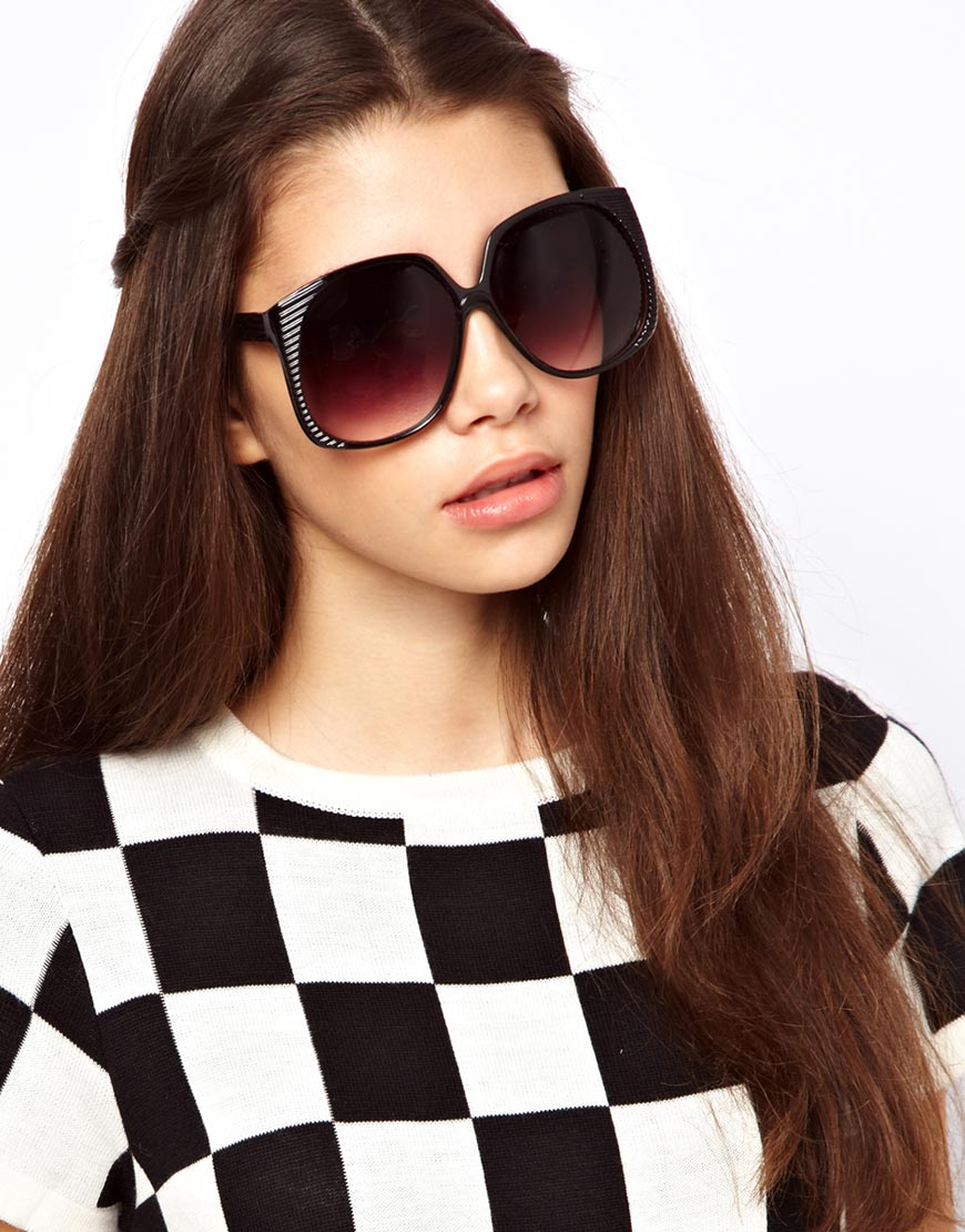 Black Oversized Sunglasses  asos oversized 70s sunglasses with side detail in black lyst