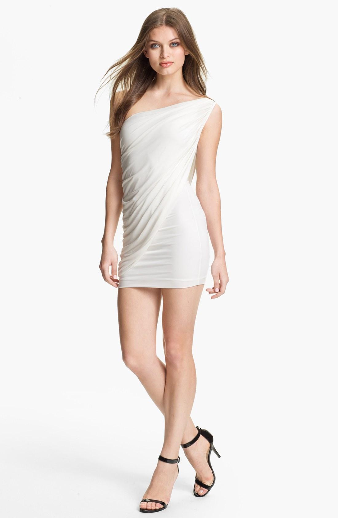 bcbgmaxazria draped one shoulder jersey mini dress in white lyst. Black Bedroom Furniture Sets. Home Design Ideas