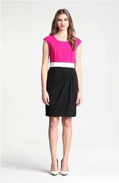 Calvin Klein Colorblock Side Drape Sheath Dress In Pink