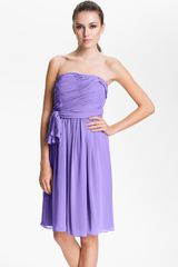 Calvin Klein Strapless Ruched Chiffon Dress - Lyst
