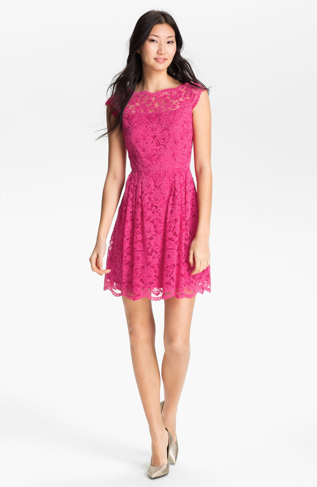 Cynthia Steffe Lace Fit Flare Dress In Pink Mod Pink Lyst