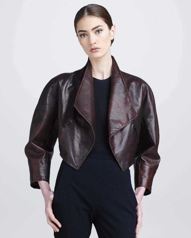 donna karan new york draped leather bolero jacket henna in red henna lyst. Black Bedroom Furniture Sets. Home Design Ideas