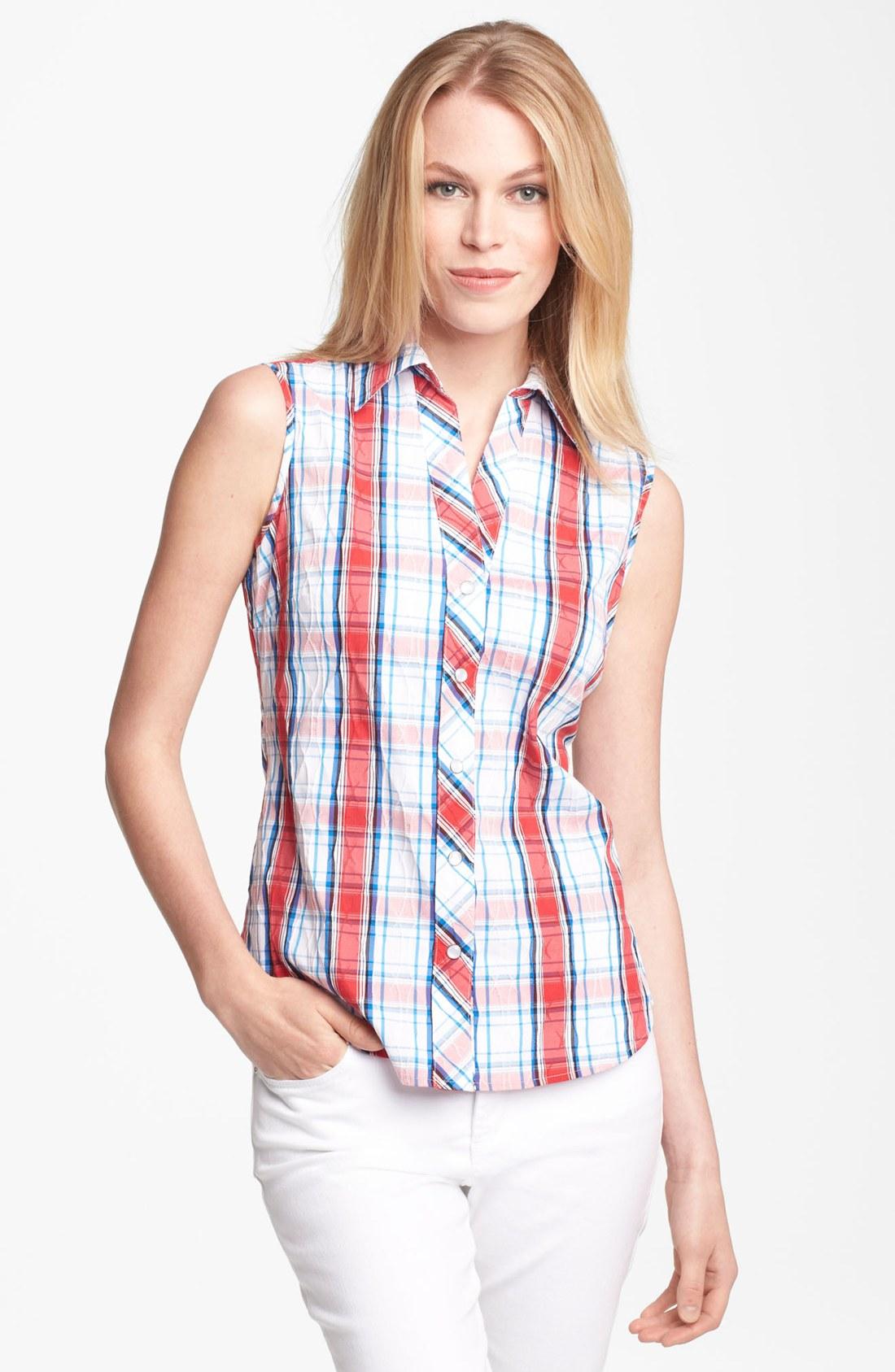Foxcroft Sleeveless Crinkled Plaid Shirt Petite In Red