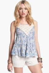 Free People Dorothy Print Babydoll Top - Lyst