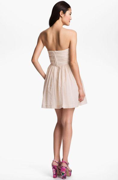 Jessica Simpson Lace Trim Fit Flare Dress In Beige