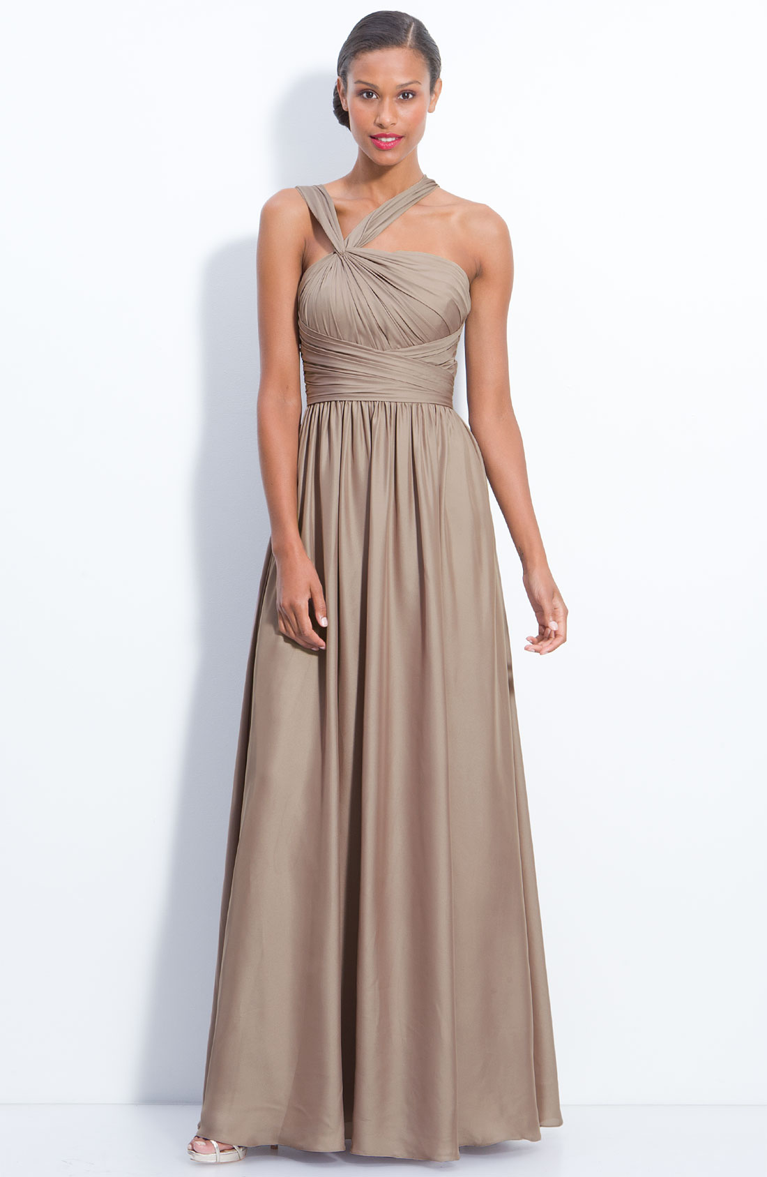 Lyst ml monique lhuillier twist shoulder chiffon gown for Nordstrom wedding bridesmaid dresses