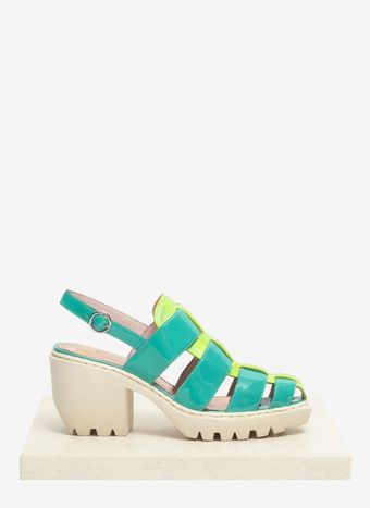 Opening Ceremony Iridescent Panel Leather Block Sandals - Lyst