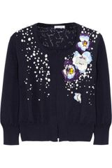 Oscar de la Renta Embellished Cashmere and Silk Blend Cardigan - Lyst