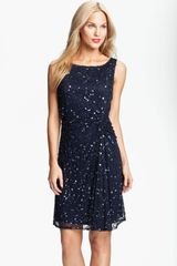 Pisarro Nights Sequin Bead Gathered Mesh Dress - Lyst