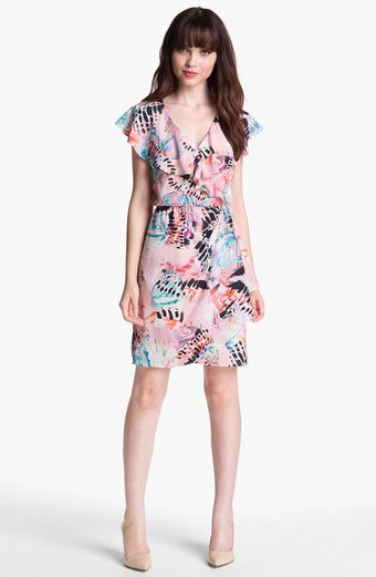 Presley Skye Ruffled Faux Wrap Dress - Lyst