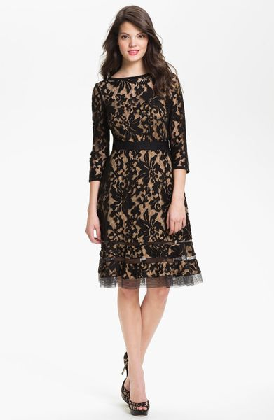 Tadashi Shoji Lace Overlay Dress In Black Black Nude Lyst
