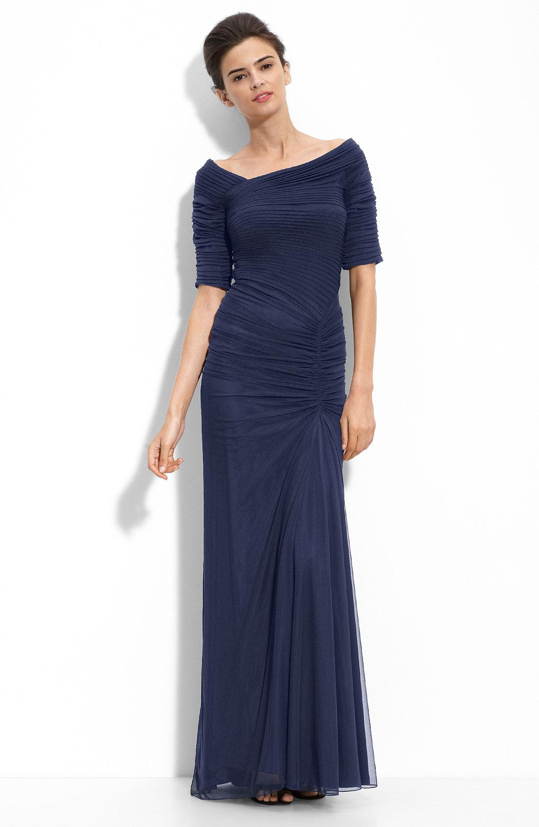 Tadashi shoji asymmetrical ruched mesh gown in blue for Tadashi shoji wedding dresses