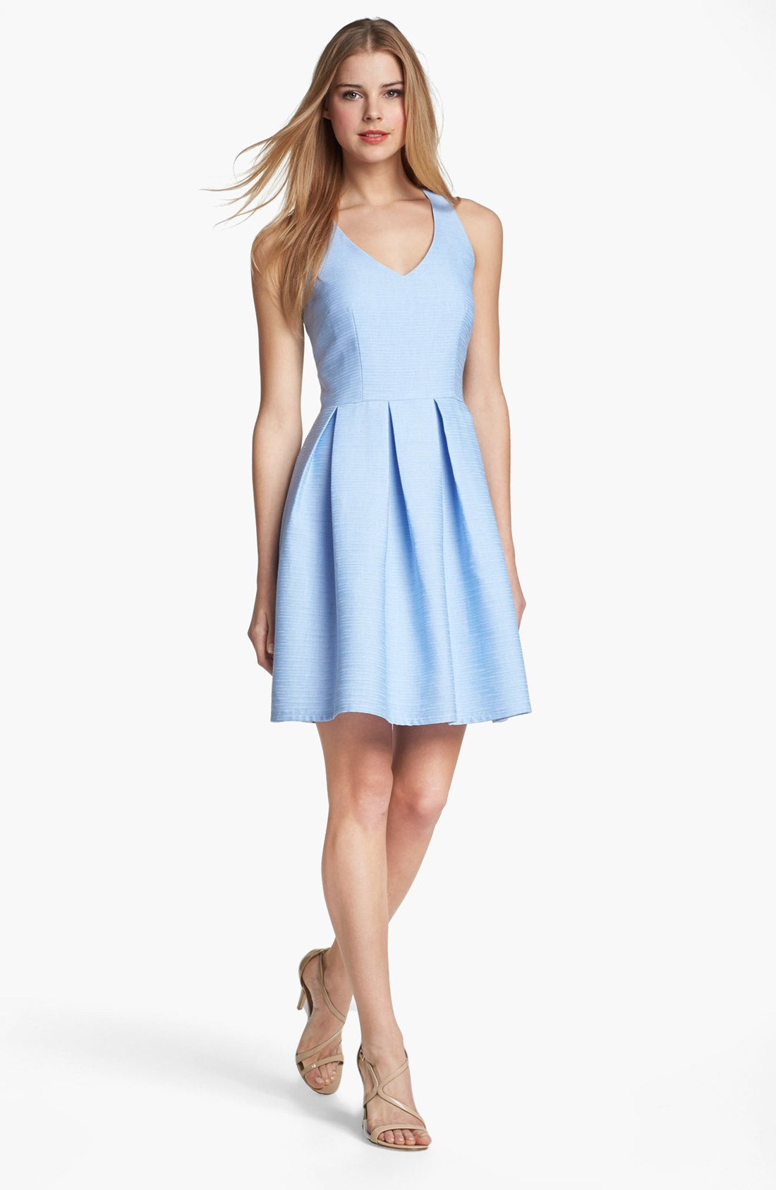 Taylor dresses cutout detail fit flare dress in blue for Nordstrom men s dress shirt fit guide