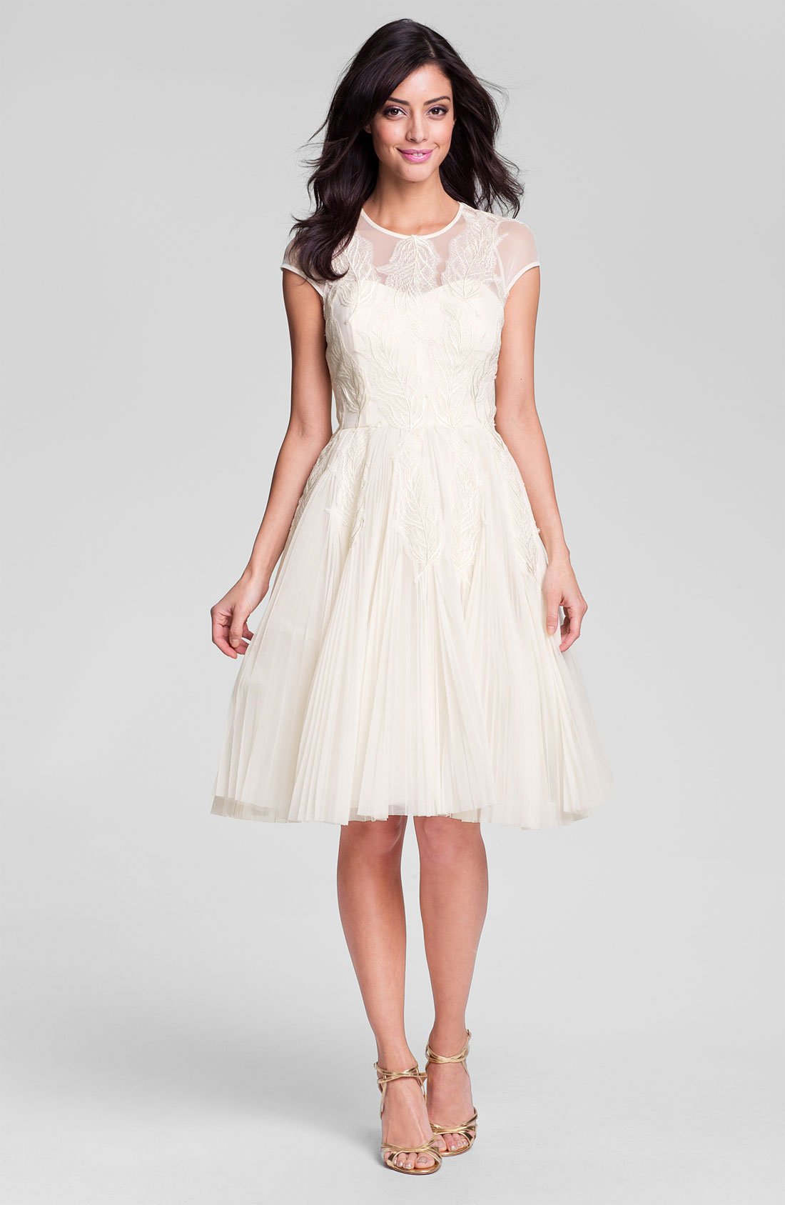 Ted Baker Miyaa Embroidered Mesh Fit & Flare Dress in