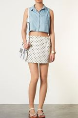 Topshop Moto Sophie Crop Sleeveless Denim Shirt - Lyst
