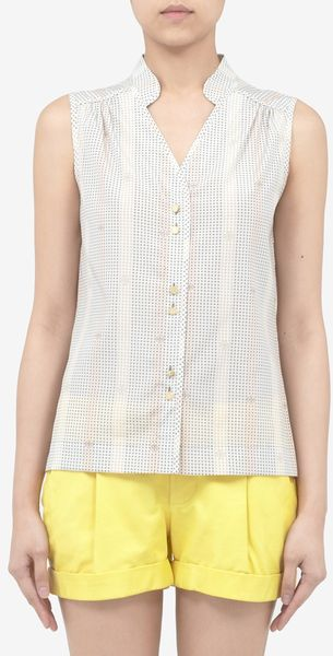 Tory Burch Haden Printed Sleeveless Silk Blouse - Lyst