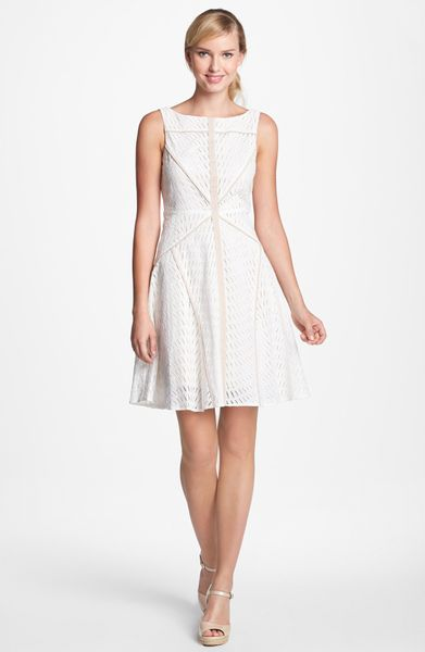Vince Camuto Sleeveless Fit Flare Dress In White Ivory