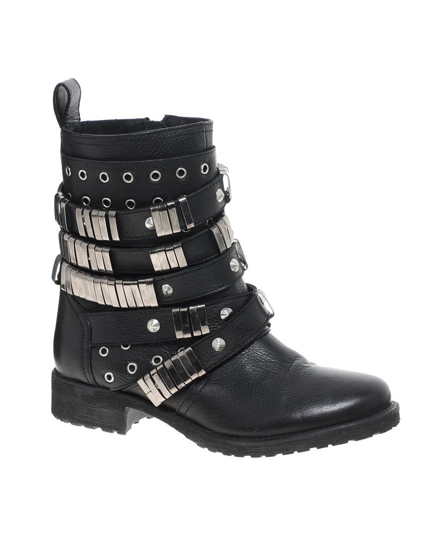 asos aberdeen leather biker boots in black lyst
