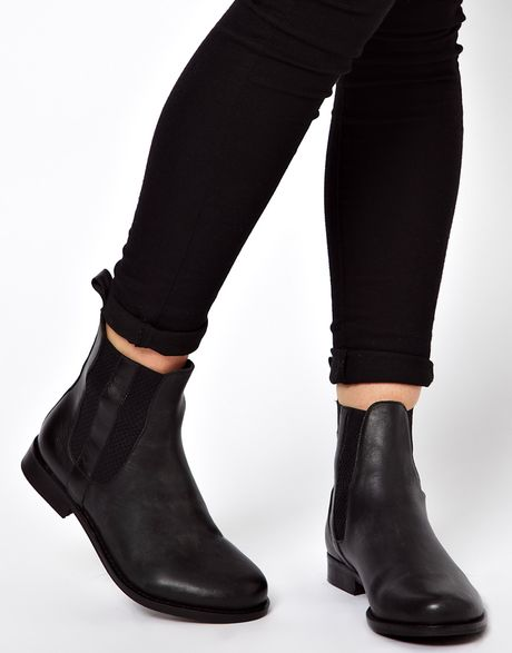 asos author leather chelsea ankle boots in black lyst