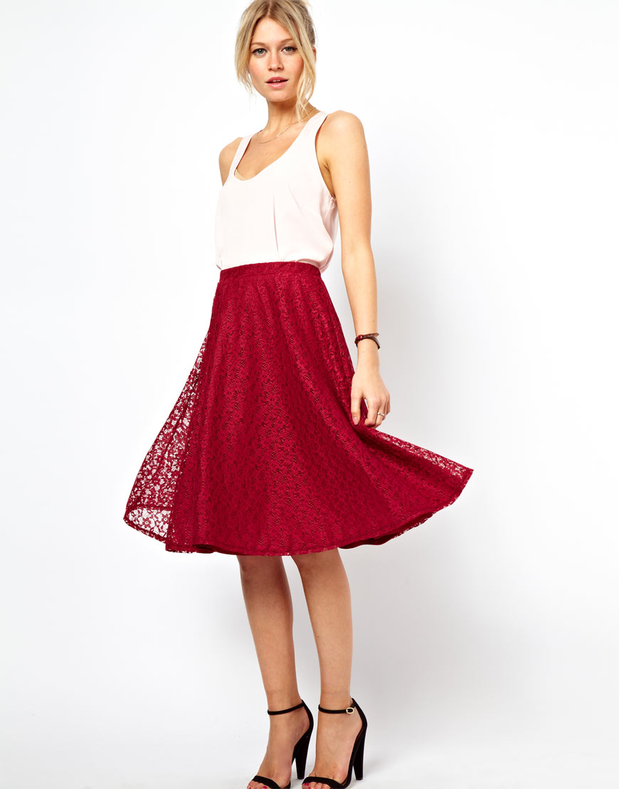 Asos Midi Skirt in Floral Lace in Red | Lyst