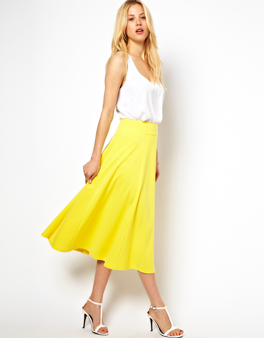 Asos Midi Skirt with Stitch Waist Detail in Yellow | Lyst