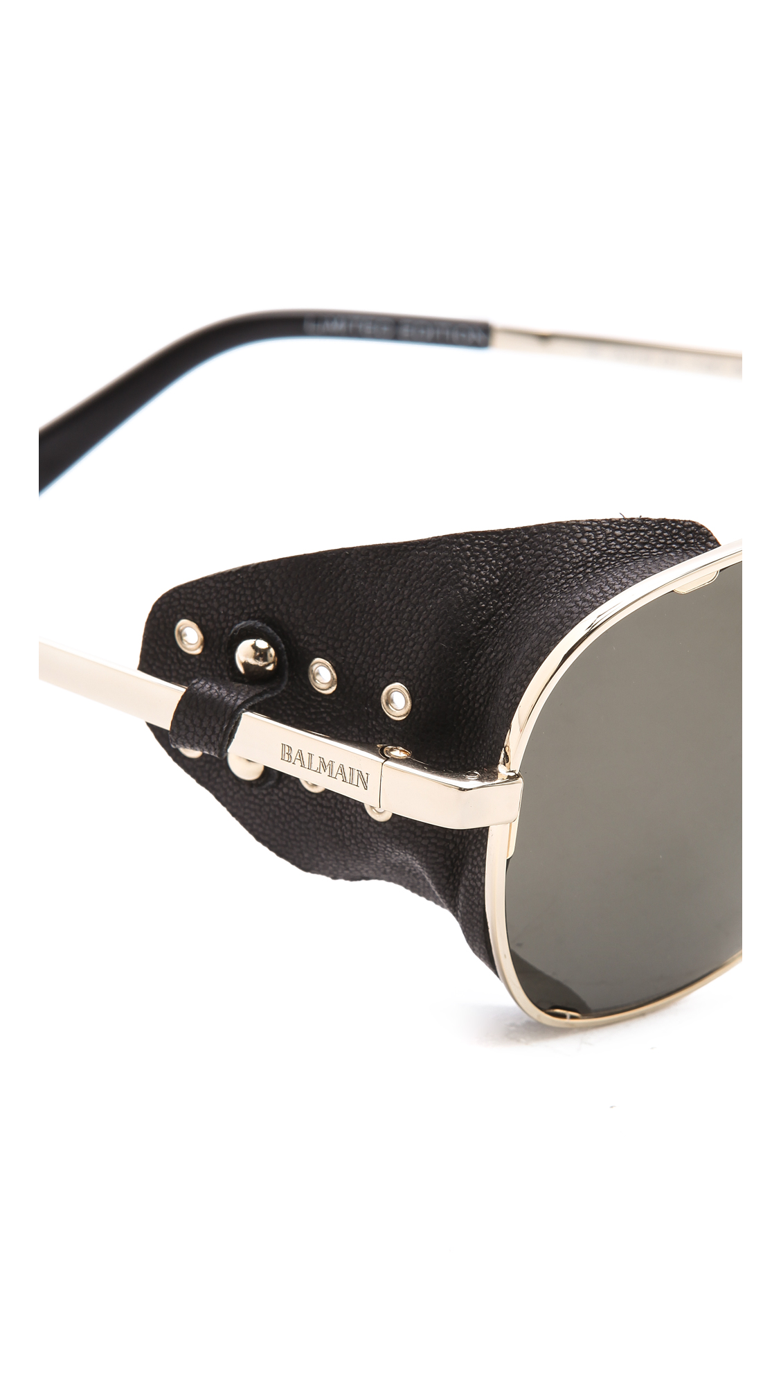Balmain Studio Aviator Sunglasses  balmain studio covered side sunglasses in metallic lyst