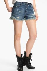 Free People Dolphin Vintage Denim Cutoff Shorts True Blue - Lyst
