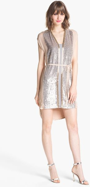 French Connection Sequin Highlow Shirtdress - Lyst