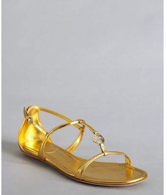 Gucci Gold Metallic Leather Logo Charm Strappy Sandals - Lyst