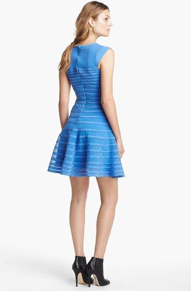 Halston Heritage Contrast Stripe Flare Dress In Blue Sky