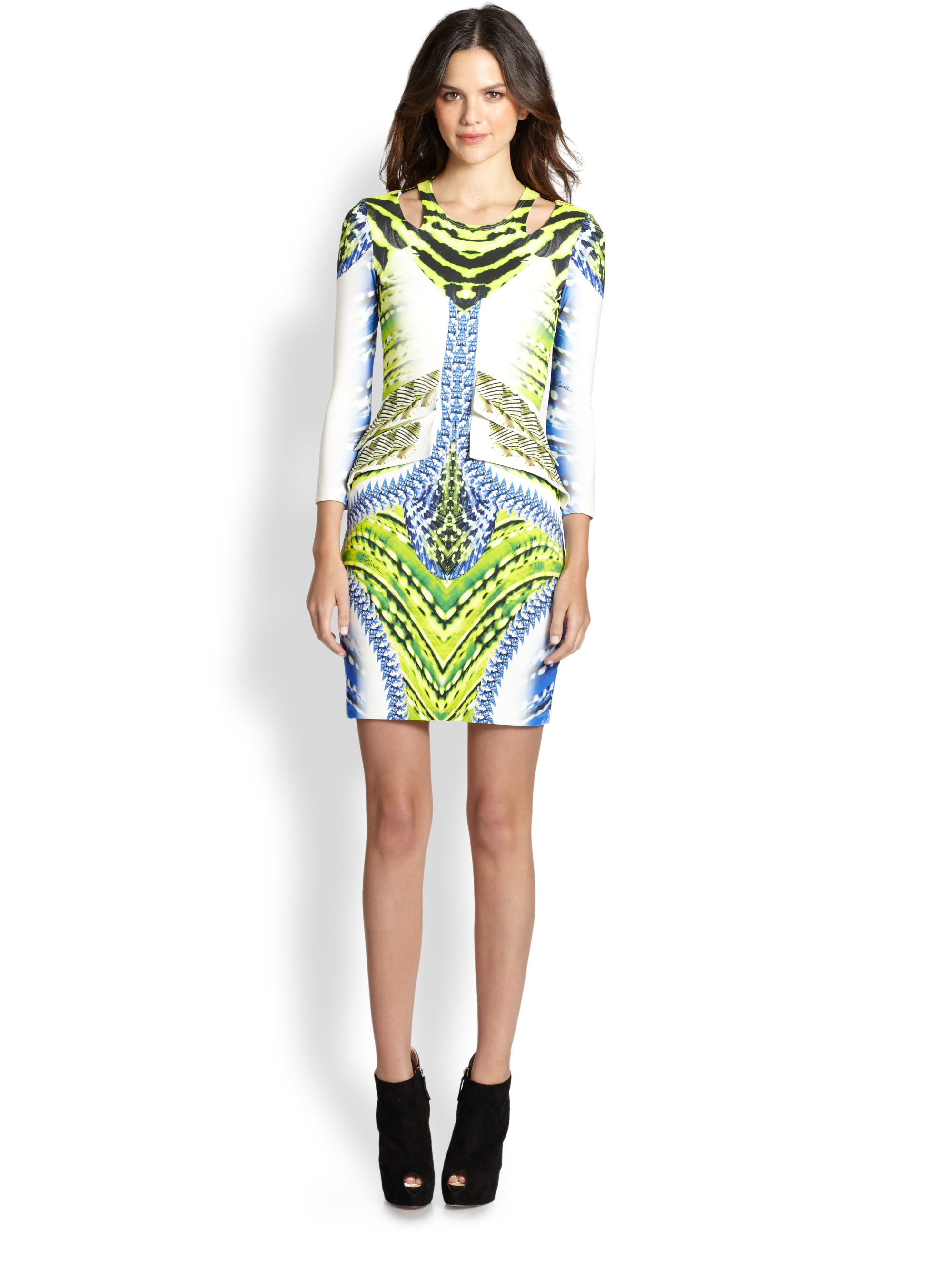 Just Cavalli Tigerfishprint Dress in Multicolor (lime ...