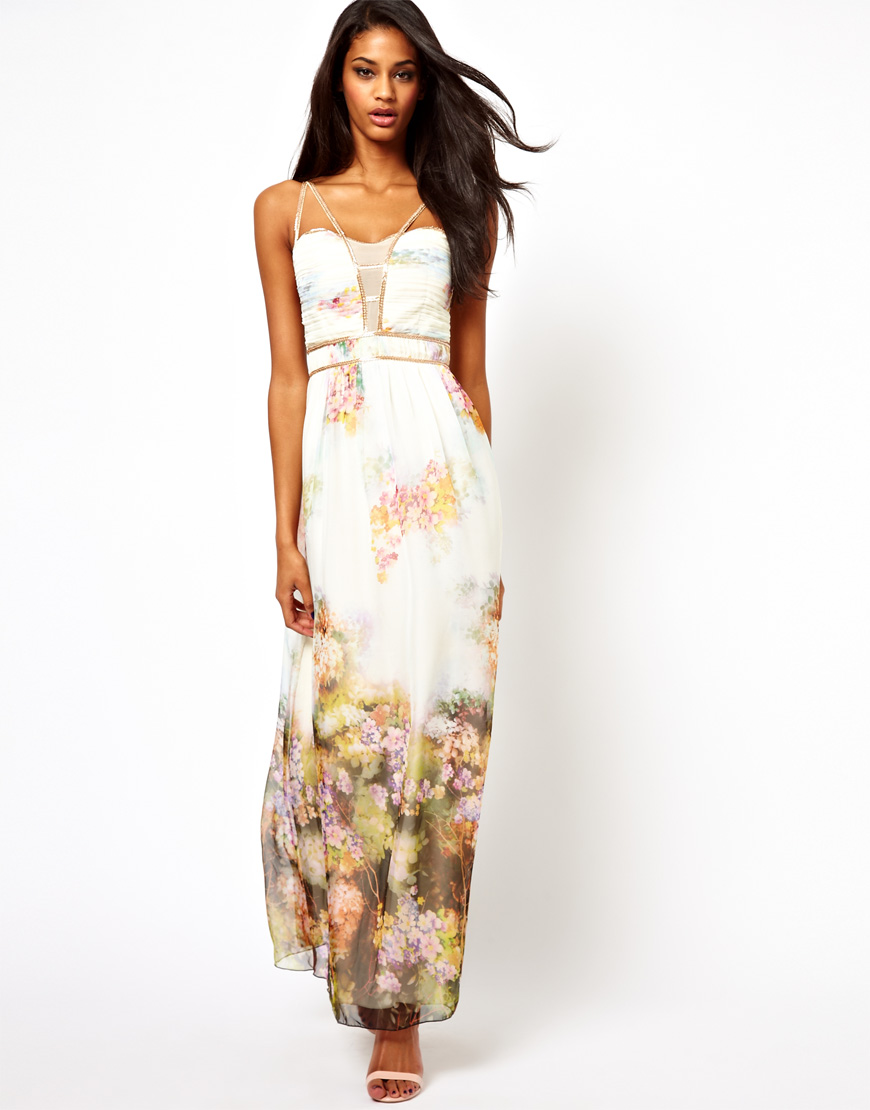 Little mistress Maxi Dress in Floral Print in White | Lyst
