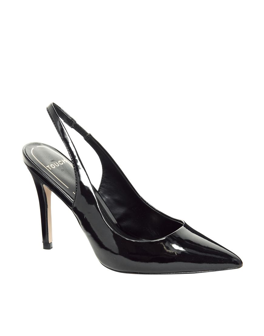 mango black patent slingback heeled shoes in black lyst