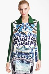 Mary Katrantzou Sateen Biker Jacket - Lyst