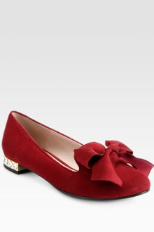Miu Miu Jeweled Suede Bow Smoking Slippers - Lyst
