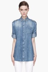 Pierre Balmain Blue Studded Denim Shirt - Lyst