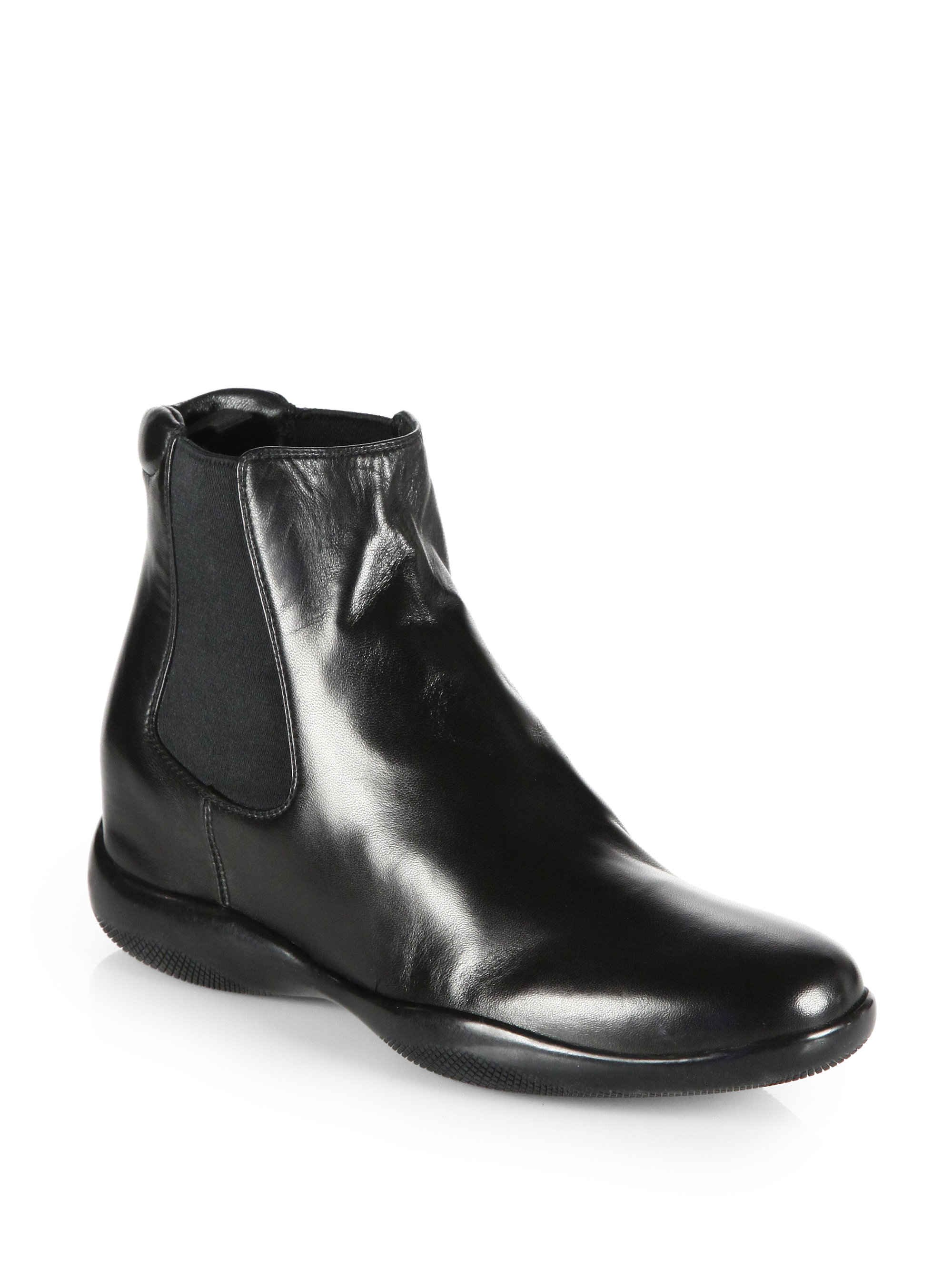 prada leather ankle boots in black nero black lyst