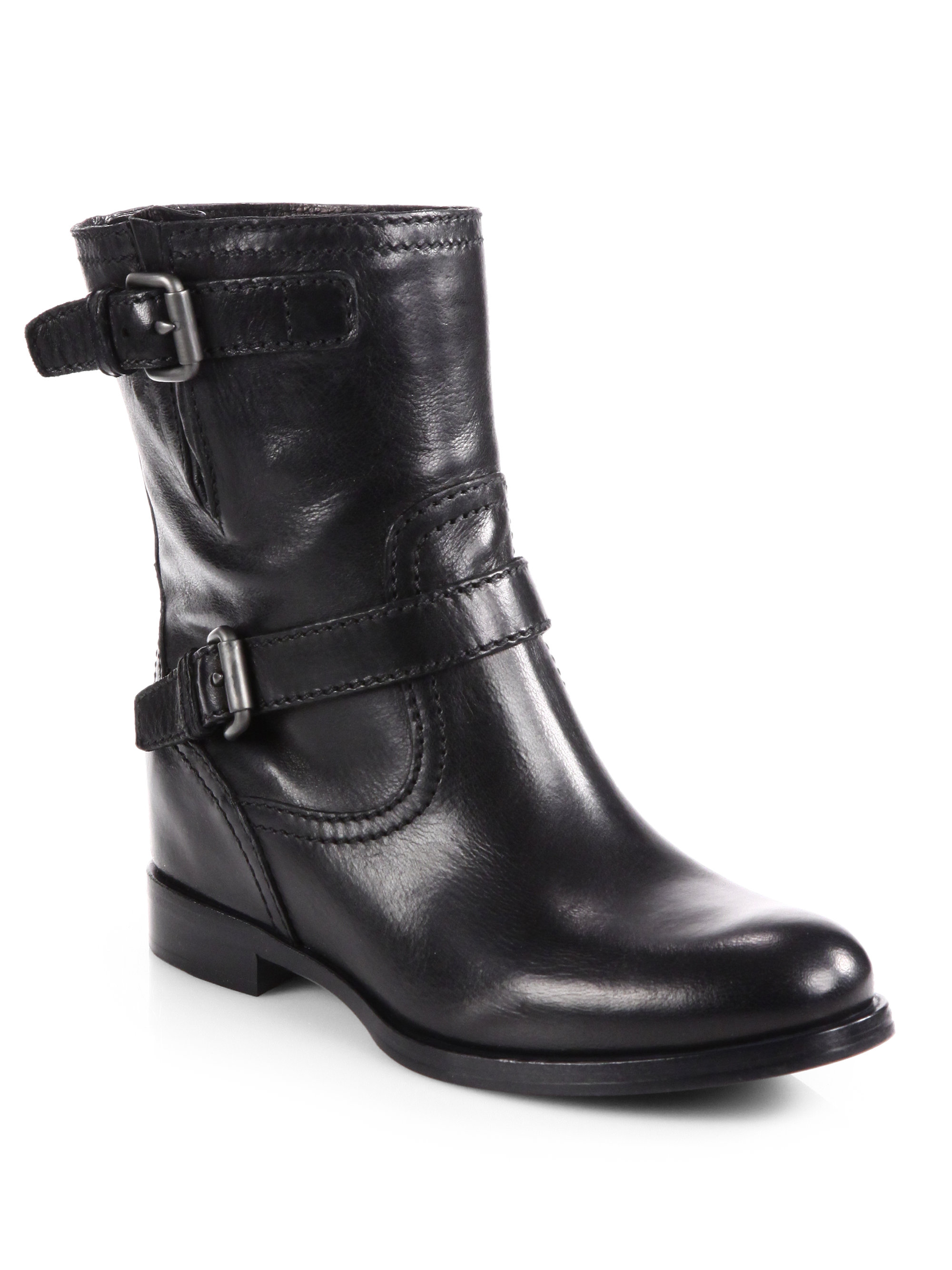 Prada Leather Double Buckle Motorcycle Boots in Black (nero-black) | Lyst