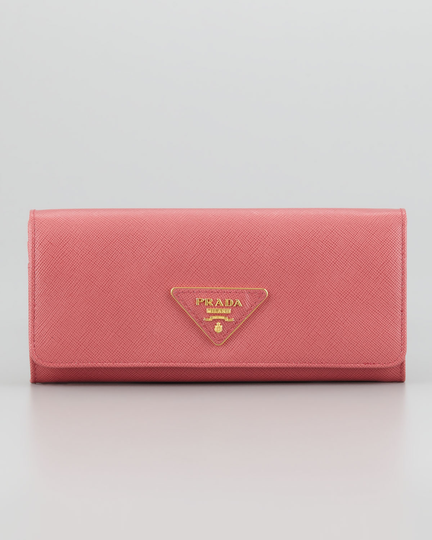 9c047d6703644d Prada Saffiano Triangle Continental Flap Wallet in Pink - Lyst