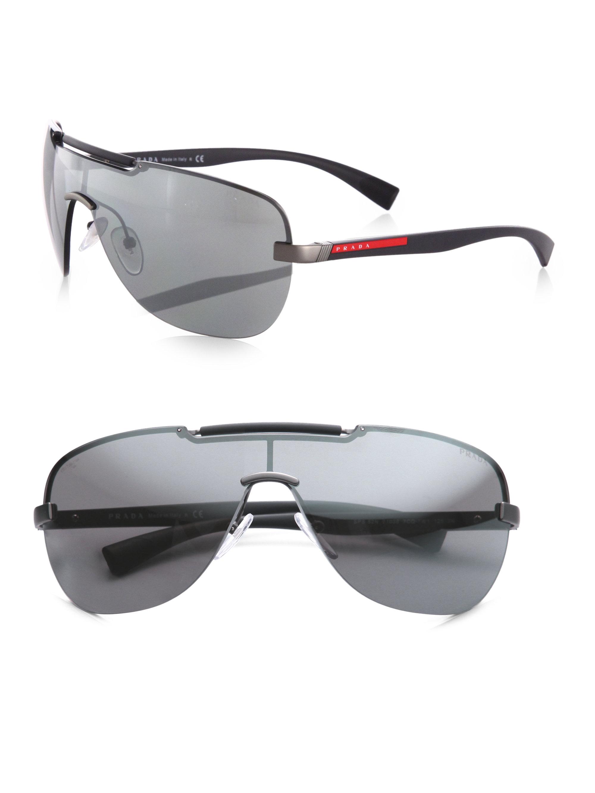 47811d22ad6 ... cheapest lyst prada metal shield sunglasses in metallic a544d fb76e