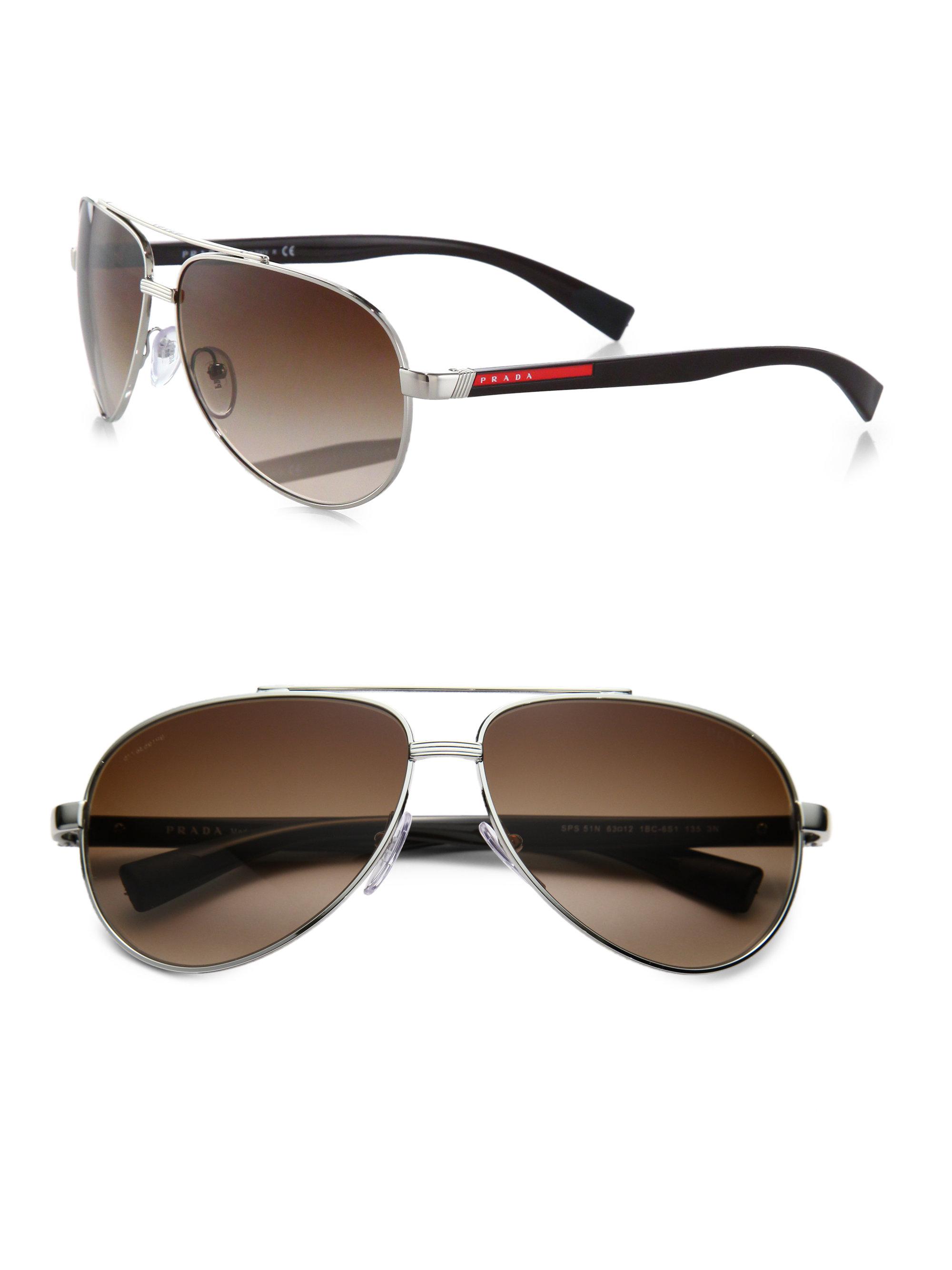 Prada Metal Shield Sunglasses in Brown for Men | Lyst