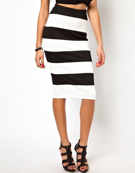 river island textured stripe pencil skirt in white