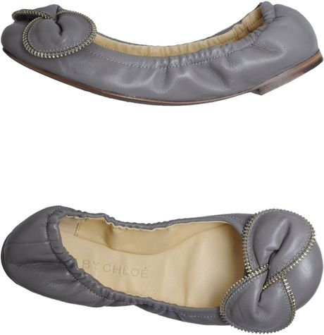 see by chlo ballet flats in gray grey lyst. Black Bedroom Furniture Sets. Home Design Ideas