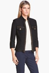 St. John Collection Collection Military Tweed Knit Jacket - Lyst