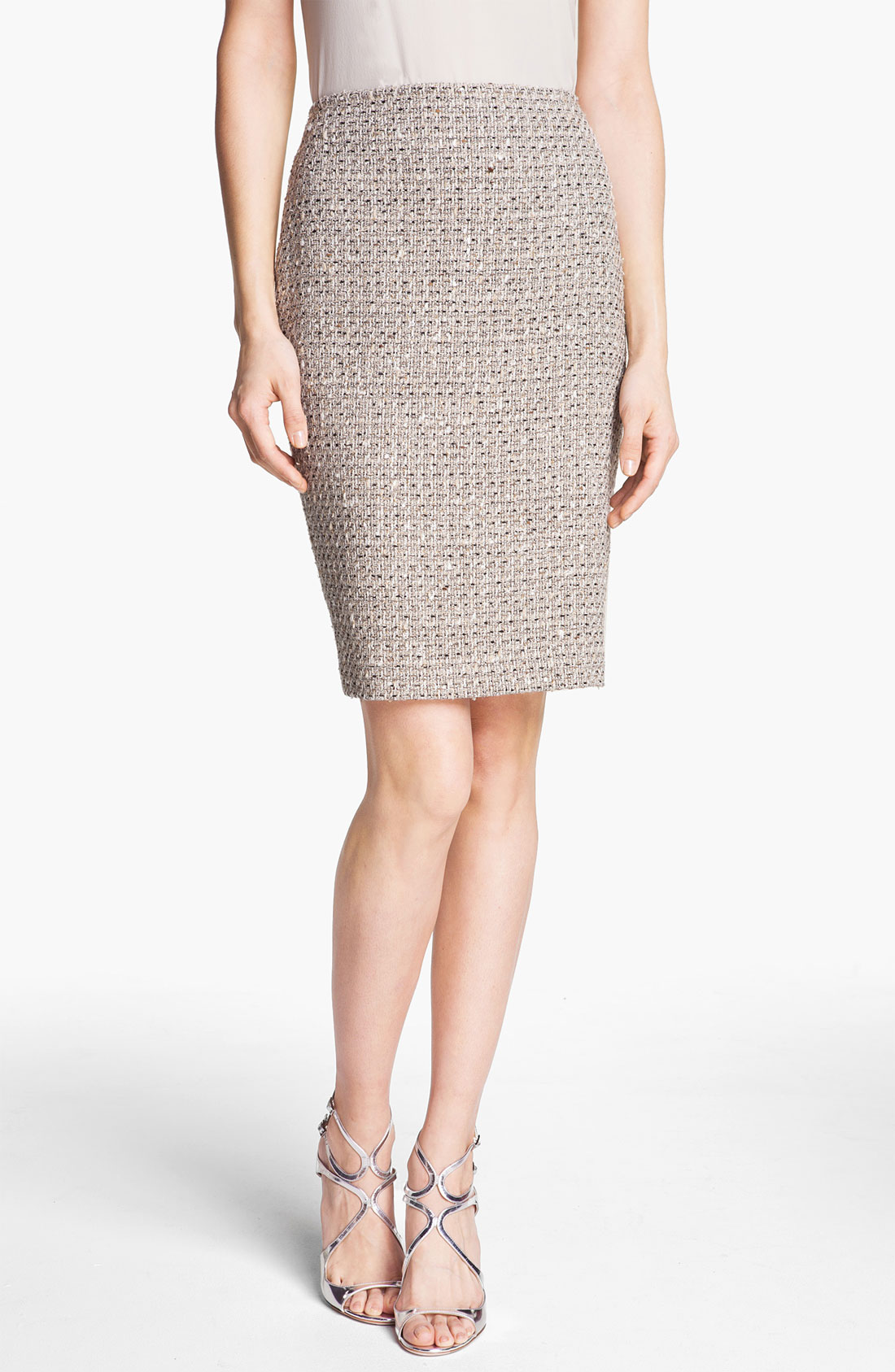st collection speckled tweed pencil skirt in beige