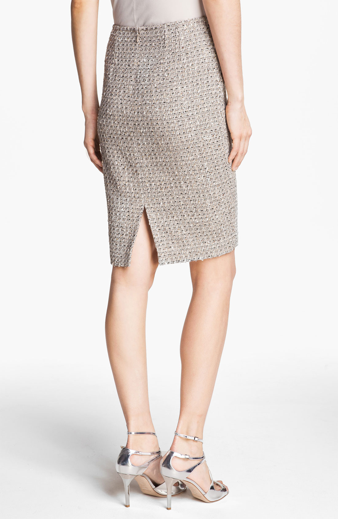 st collection beige speckled tweed pencil skirt