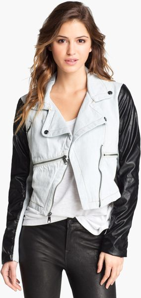 Steve Madden Denim & Faux Leather Moto Jacket | Nordstrom