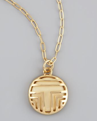 Tory Burch Fret Ttiled Charm Necklace - Lyst
